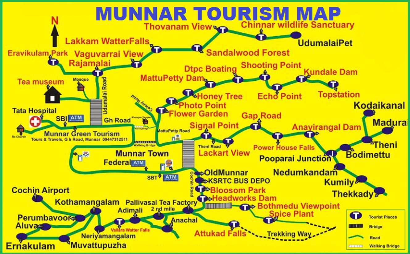 Tourism Map Of Munnar